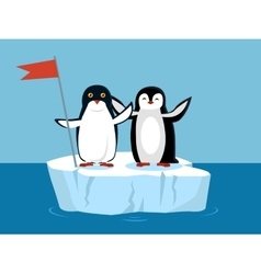 Funny Emperor Penguins on Arctic Glacier with Flag vector image vector image