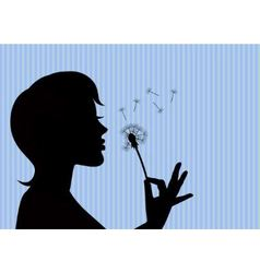 Girl blowing on a dandelion vector