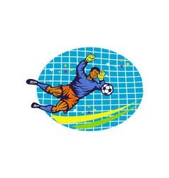 Goalie soccer football player retro vector