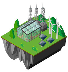 Greenhouse and solar cells by the mountains vector