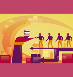 Group of business people walking to hand holding vector