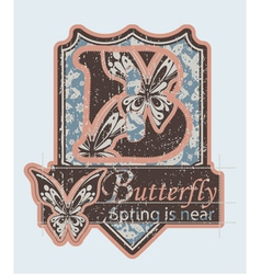 grunge label with butterflies vector image vector image