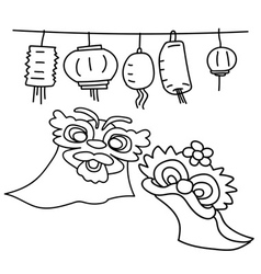Hand drawing happy chinese new year concept vector