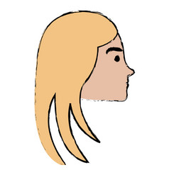 Head profile woman avatar character vector