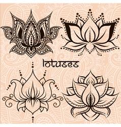 Lotuses set vector image