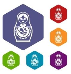Matryoshka icons set vector image