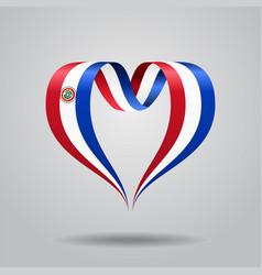 paraguayan flag heart-shaped ribbon vector image vector image
