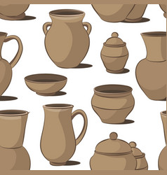 rustic ceramic utensils pattern vector image
