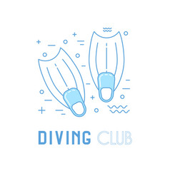 Scuba diving line art with fins vector