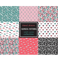Set of seamless patterns tiling for abstract vector image