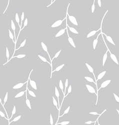 Silver seamless pattern with green leaves vector image vector image