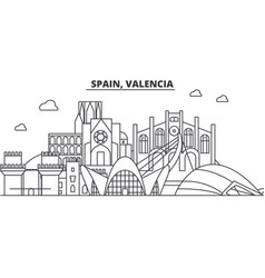 Spain valencia architecture line skyline vector
