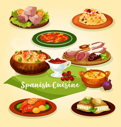 Spanish cuisine meat and fish dishes cartoon icon vector