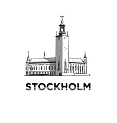 The sketch of Stockholm city hall vector image vector image