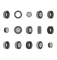 tires wheel disks auto service icons vector image vector image