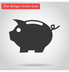 with shadow icon piggy pig vector image