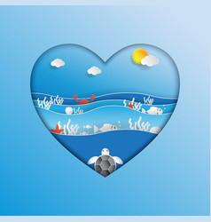 World oceans day concept design in heart shape vector