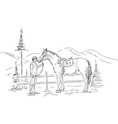 Young woman and horse vector