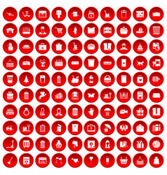100 box icons set red vector