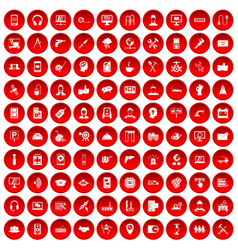 100 support icons set red vector