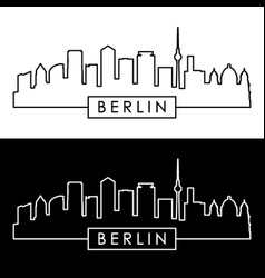Berlin skyline linear style vector
