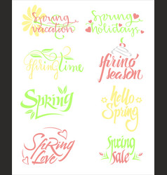 Bright spring calligraphic letterings set vector