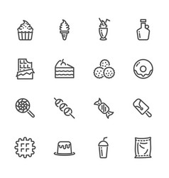 Sweet dessert sugar cause of obesity line icons vector