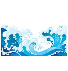 Giant ocean waves background vector