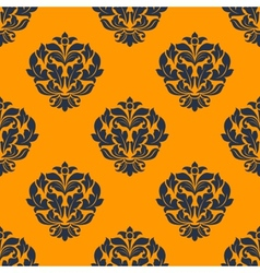 Indigo colored floral seamless pattern vector