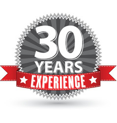 30 years experience retro label with red ribbon vector