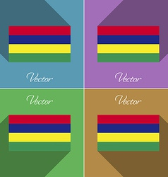 Flags mauritius set of colors flat design and long vector