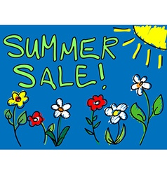 Summer sale with sun and flowers doodle vector