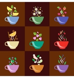Cups with tea set berries lemon mint vanilla vector
