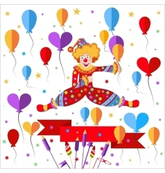 Clown balloons ribbon salute vector image