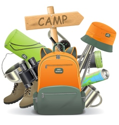 Camping Concept with Backpack vector image