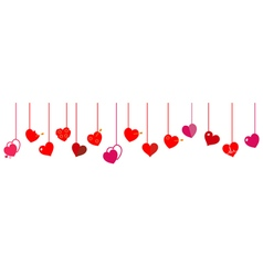 Hanging red hearts vector