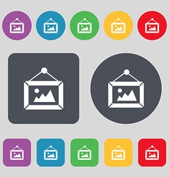 Picture icon sign a set of 12 colored buttons flat vector