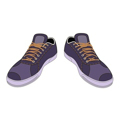 Unisex outlined template sneakers pair vector