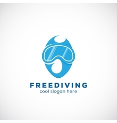 Freediving abstract scuba diving sign vector
