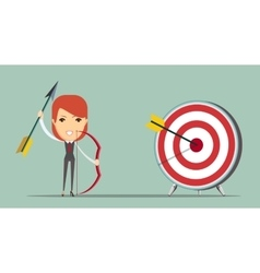 Business woman shooting target vector