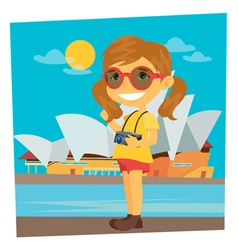 Tourist girl girl traveler girl with camera vector