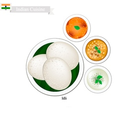 Idli or indian rice cake with sambar vector