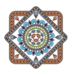 Squared multicolore decorative line mandala icon vector