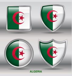 algeria flag in 4 shapes collection vector image vector image