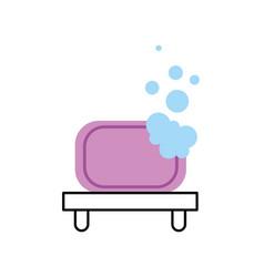 Bathroom shelf and bubbles clean tool vector