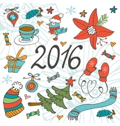 Colorful 2016 card with winter graphics vector image vector image