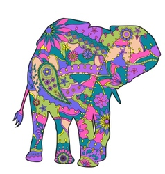 Colorful elephant silhouette vector