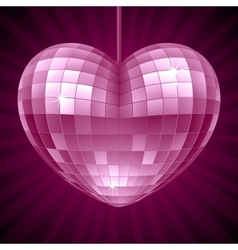 Disco heart purple mirror disco ball vector