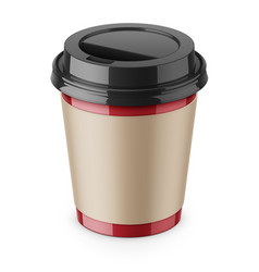Disposable paper coffee cup with lid and sleeve vector