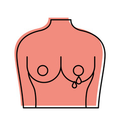 female torso with breast cancer examining vector image